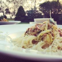 Spaghetti mit Lauch-Speck-Sauce